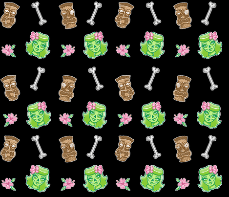 Zombie Tiki Pattern fabric by ellamobbs on Spoonflower - custom fabric