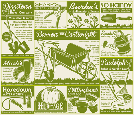 Gardening Tools Advertisements ~ Avocado fabric by retrorudolphs on Spoonflower - custom fabric
