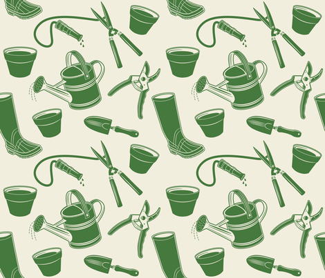 Gardening Tools ~ Green fabric by retrorudolphs on Spoonflower - custom fabric