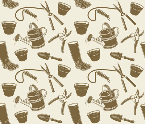 Gardening Tools ~ Mushroom fabric by retrorudolphs on Spoonflower - custom fabric