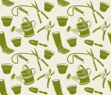 Gardening Tools ~ Avocado fabric by retrorudolphs on Spoonflower - custom fabric