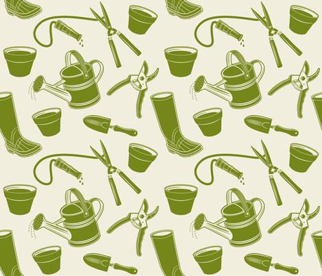 Gardening Tools ~ Avocado fabric by retrorudolphs on Spoonflower - custom fabric
