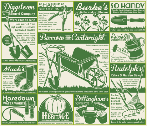 Gardening Tools Advertising ~ Green fabric by retrorudolphs on Spoonflower - custom fabric
