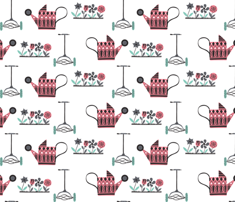 Watering the Garden fabric by lkvisualdesign on Spoonflower - custom fabric