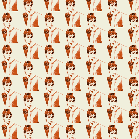 audrey hepburn in burnt orange fabric by mezzime on Spoonflower - custom fabric