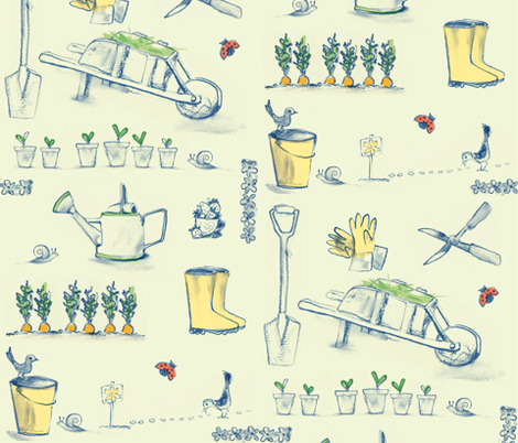 spring_gardening fabric by johanna_design on Spoonflower - custom fabric