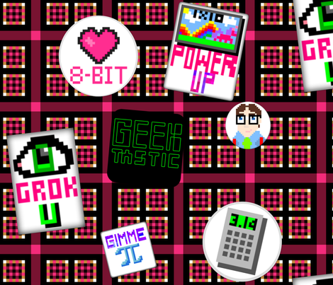 I Grok Geeky 8-bit Flair fabric by peacoquettedesigns on Spoonflower - custom fabric