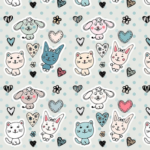 cute baby animals pattern