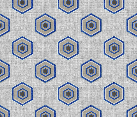 Geometric Linen Hexagon in blue and gray fabric by joanmclemore on Spoonflower - custom fabric