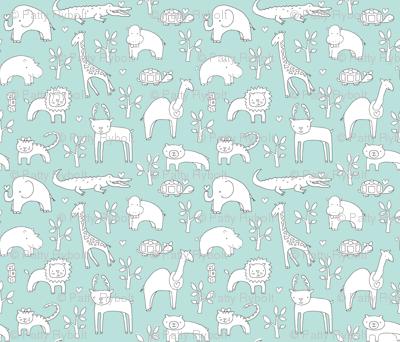 Safari Baby! (slate, lt. aqua + white)
