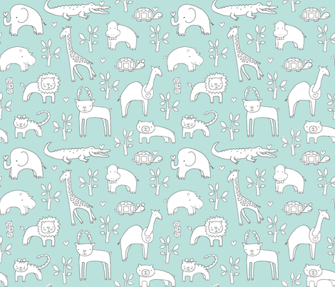 Safari Baby! (slate, lt. aqua + white) fabric by pattyryboltdesigns on Spoonflower - custom fabric