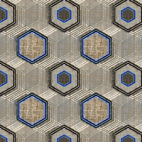 Reverb Hexagon on Steel in gray and blue fabric by joanmclemore on Spoonflower - custom fabric