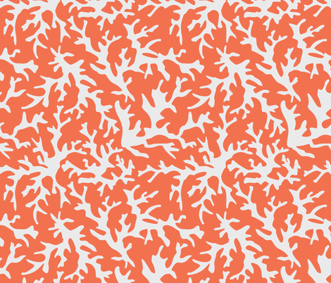 Coral Reef in Coral/White fabric by alainasdesigns on Spoonflower - custom fabric