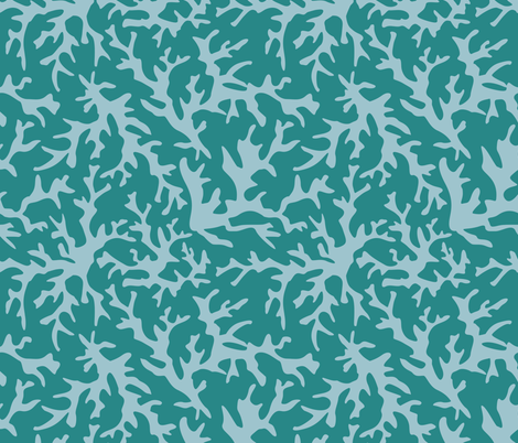 Coral Reef Print in Teal/Blue fabric by alainasdesigns on Spoonflower - custom fabric