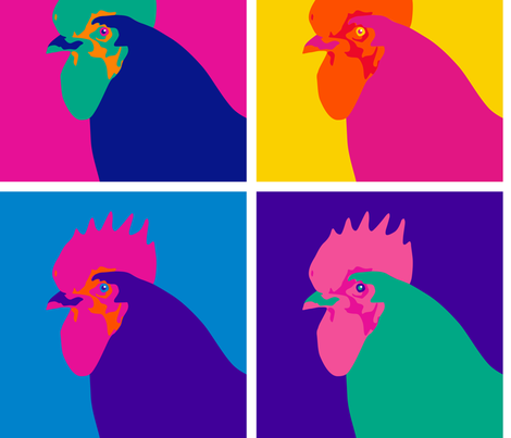 Chicken Pop Art - Warhol Style fabric by mariafaithgarcia on Spoonflower - custom fabric
