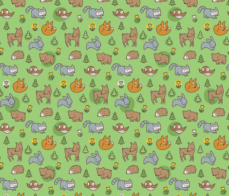 Woodland Meadow fabric by auki on Spoonflower - custom fabric