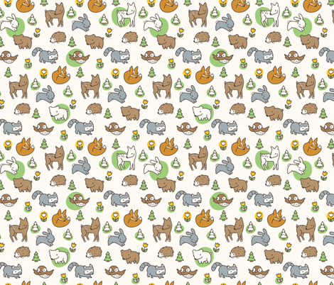 Woodland Meadow (Cream) fabric by auki on Spoonflower - custom fabric
