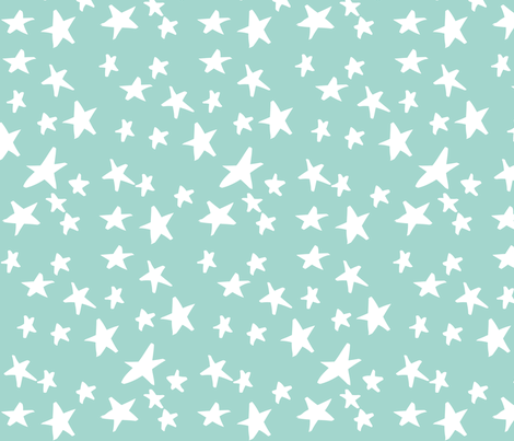 Hand Drawn Stars - Mint Green and White fabric by eclecticlauren on Spoonflower - custom fabric