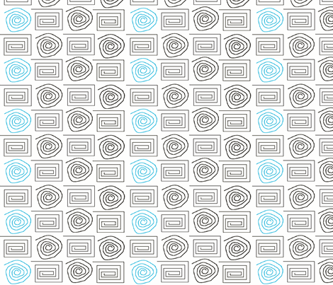 spiral_circ_sq blk aqua fabric by dsa_designs on Spoonflower - custom fabric