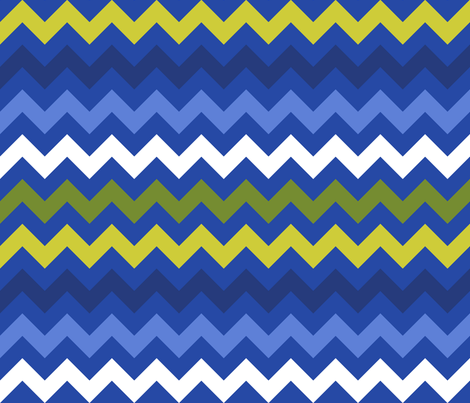 Colorful Chevron Blue fabric by littlerhodydesign on Spoonflower - custom fabric