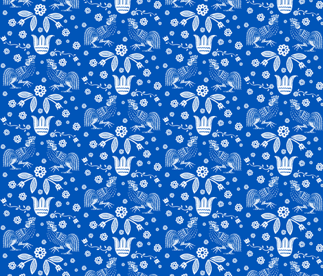 barnyard toile blue fabric by keweenawchris on Spoonflower - custom fabric