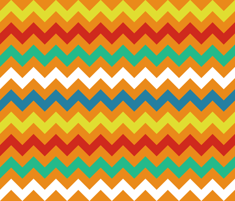 Colorful Chevron Tangerine fabric by littlerhodydesign on Spoonflower - custom fabric