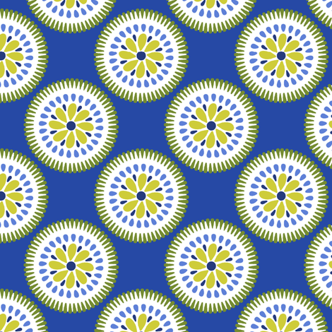 Sunburst Flower Blue fabric by littlerhodydesign on Spoonflower - custom fabric
