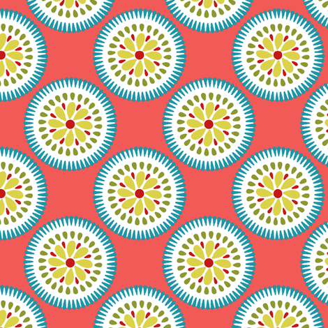 Sunburst Flower Coral fabric by littlerhodydesign on Spoonflower - custom fabric
