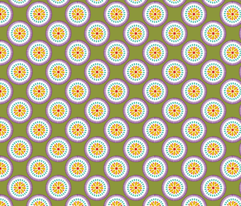 Sunburst Flower Lime fabric by littlerhodydesign on Spoonflower - custom fabric