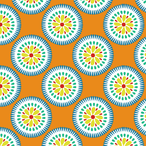 Sunburst Flower Tangerine fabric by littlerhodydesign on Spoonflower - custom fabric