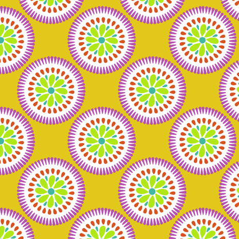 Sunburst Flower Yellow fabric by littlerhodydesign on Spoonflower - custom fabric