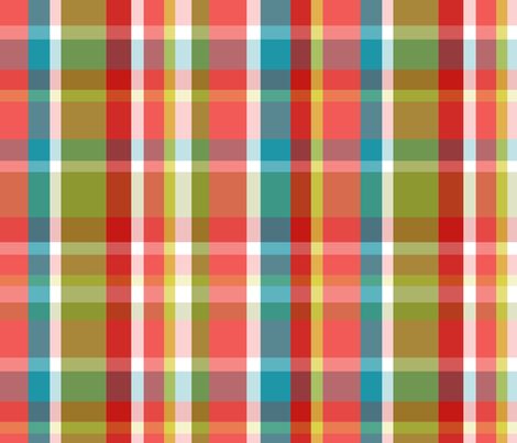 Madras Plaid Coral fabric by littlerhodydesign on Spoonflower - custom fabric