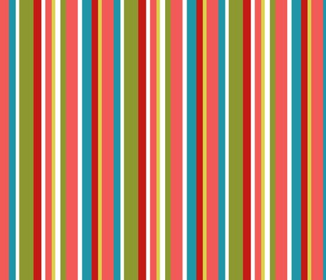 Clean Summer Stripe Coral fabric by littlerhodydesign on Spoonflower - custom fabric