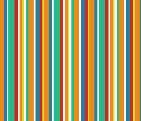 Clean Summer Stripe Tangerine fabric by littlerhodydesign on Spoonflower - custom fabric