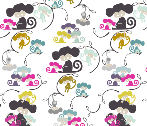 Monkeying Around - Mod Baby (Tower) fabric by ttoz on Spoonflower - custom fabric