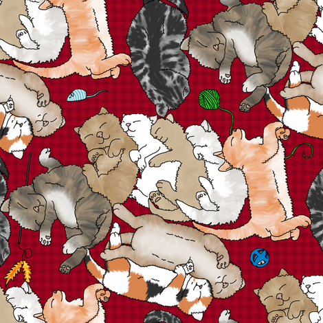 catnap - red check  fabric by victorialasher on Spoonflower - custom fabric