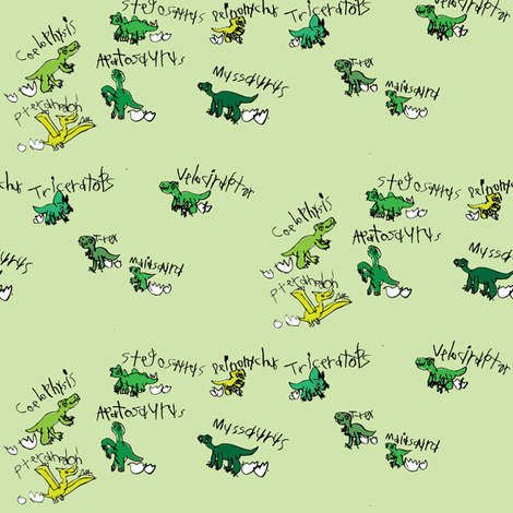Baby Dinos fabric by iliketodraw on Spoonflower - custom fabric