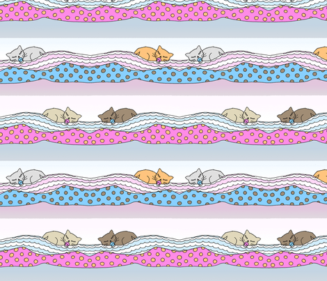 Sleeping kitties fabric by lucybaribeau on Spoonflower - custom fabric