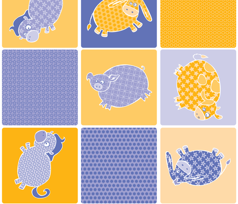 Pig & His Quilted Friends fabric by noaleco on Spoonflower - custom fabric