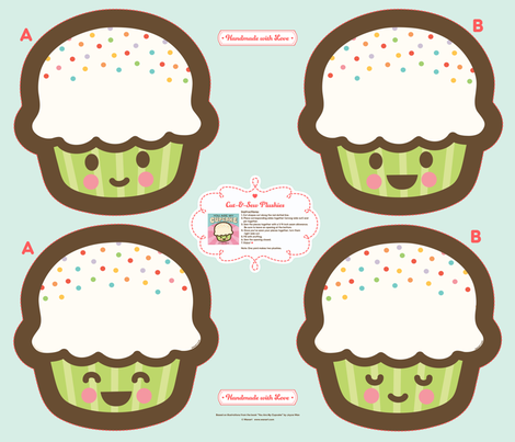 "Cut-&-Sew Plushie: 14"" Cupcake fabric by wanart on Spoonflower - custom fabric"