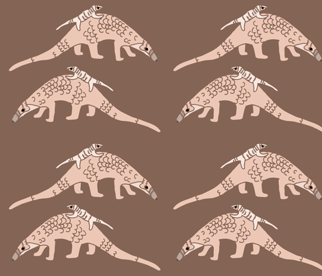 Pangolins in Pink fabric by owlandchickadee on Spoonflower - custom fabric