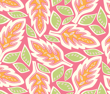 BigLeaves pink fabric by jillbyers on Spoonflower - custom fabric