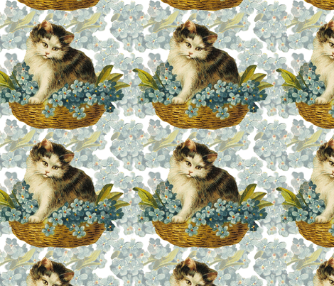 Cat_in_Basket fabric by mammajamma on Spoonflower - custom fabric