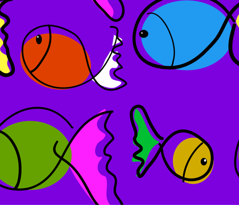 playing fish fabric by kaija on Spoonflower - custom fabric