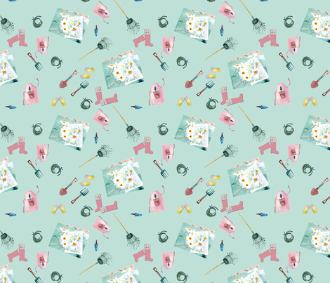 April gardening notes fabric by karenharveycox on Spoonflower - custom fabric