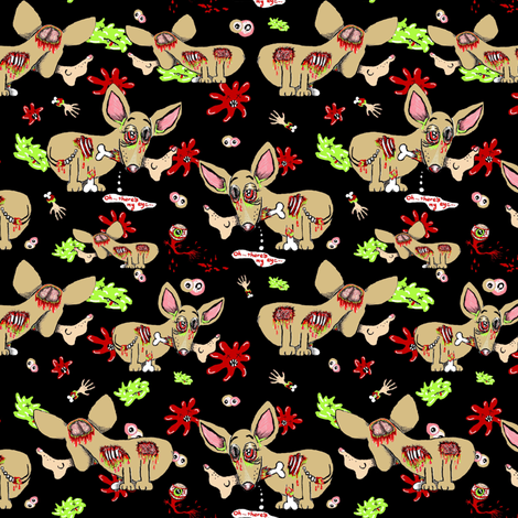 Zombie Chihuahua Dog on Black fabric by amy_g on Spoonflower - custom fabric