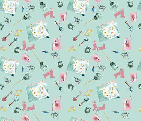Garden Notes fabric by karenharveycox on Spoonflower - custom fabric