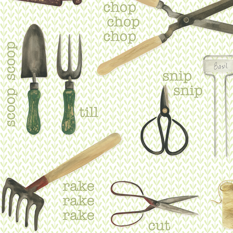 Gardening Tools fabric by jillbyers on Spoonflower - custom fabric