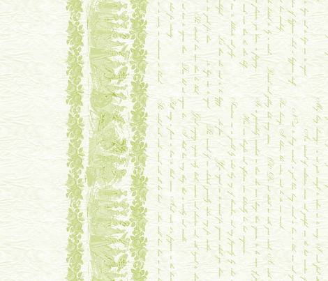 Jane Austin Says Border Print in Tender Shoot fabric by miart on Spoonflower - custom fabric