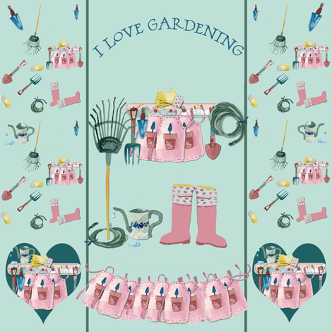 I love Gardening fabric by karenharveycox on Spoonflower - custom fabric